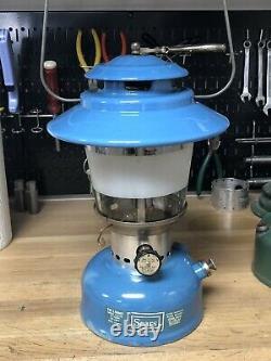 Vintage Coleman Sears Lantern 72217 Blue Big Hat Original Frosted Globe 3/71