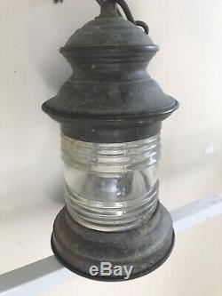 Vintage Copper and Glass Wall Indoor / Outdoor Porch Light Lantern Sconce