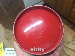 Vintage Feb 1958 Red Coleman Lantern 200A Single Mantle Pyrex Globe UNTESTED box