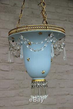 Vintage French 1980 pendant lantern chandelier stars pendant glass drops