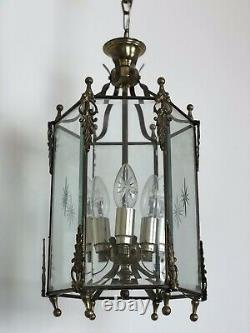 Vintage French Gilt Bronze Lantern 3 Light Pendant