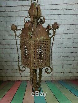 Vintage French Ornate Arts Crafts Gothic Wrought Iron Hanging Lantern Light Lamp