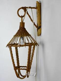 Vintage French cane wicker wall lantern 20½