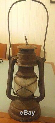 Vintage Germany Kerosene Lamp Antique Lantern Oil Glass Metal Old