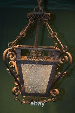Vintage Gothic Spanish Revival Wrought Iron Hanging Lantern porch Light