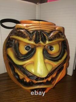 Vintage Halloween Candy Bucket Plastic Blow Mold Villain Topstone Rubber Co