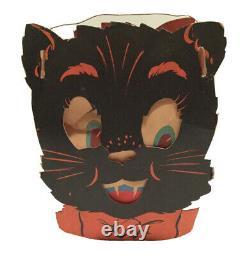 Vintage Halloween Die Cut Cardboard Double Sided Black Cat Lantern 1940s