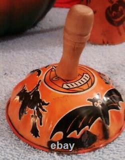 Vintage Halloween Paper Mache Jack 0 Lantern. Plus. (2) Noise Makers And Horn