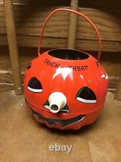 Vintage Halloween Tin Lantern with Noisemaker U. S. Metal Toy Pumpkin Ghost Witch
