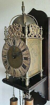 Vintage Lantern Wall Clock English Style Wooden Mount Pendulum Weights Hermle