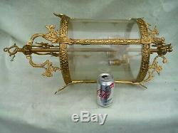 Vintage Large Gilt Brass+Etched Glass 4 Light Hallway/Porch Lantern Sconce 28.5