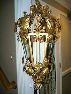 Vintage Large Italian Gold Gilt Iron Metal Lantern Chandelier Tole Hollywood