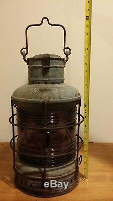 Vintage Large PERKO Marine Ships Lantern/Lamp-RARE AMETHYST GLASS-Original