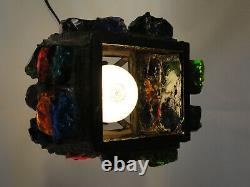 Vintage Mid Century Chunk Glass Gothic Lamp Metal Lantern Peter Marsh Nader F3-2