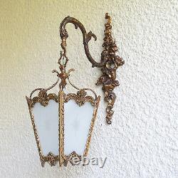 Vintage Ornate Brass 4 Panels Lantern Wall Light Fixture Sconce