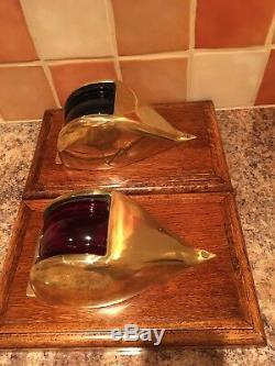 Vintage Pair of Classic Port & Starboard Brass Lights. Boat Yacht Ship Lanterns
