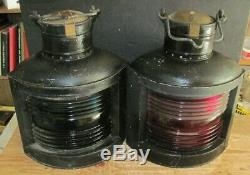 Vintage Perkins (perko) Ships Port And Starboard Lanterns- Large Size. Beauties
