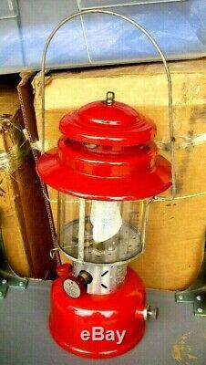 Vintage RED Coleman Lantern Model 220E Double Mantle CANADA 1963 Camping 5/63