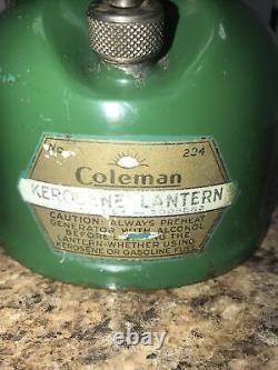 Vintage Rare COLEMAN Kerosene LANTERN No. 234 SEAFOAM GREEN 6 2