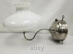 Vintage Rare Coleman Chrome Quick Lite Bq Wall Lamp With Milk Glass Shade 1925