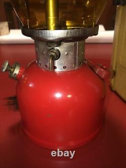 Vintage Red Coleman 200A Lantern Yellow Glass & Yellow Case 7/1967 Very Nice