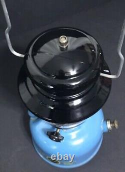 Vintage SEARS Camping Lantern 476.74550 Single Mantle Blue 4/67 NICE VENT Orig G