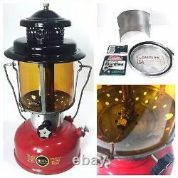 Vintage SEARS RED & BLACK Lantern 2/64 Coleman AMBER Globe PARTS VAULT SILK-LITE