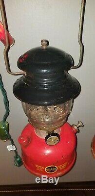 Vintage Sears Red lantern set single mantle big hat n small hat coleman