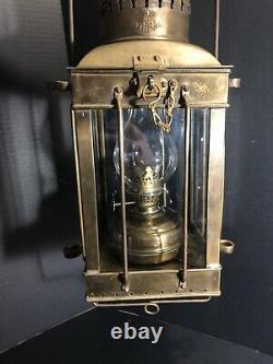 Vintage Viking Brass Ship Lantern Nautical Antique Hanging Oil Lamp