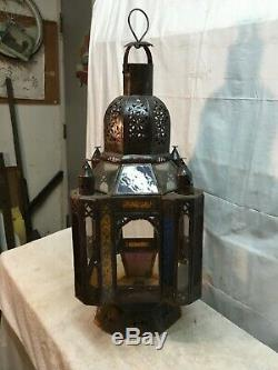 Vintage hanging candle holder lantern chandelier with Stained Glass Gothic