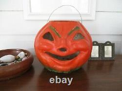 Vintage paper mache pulp jack o lantern, Halloween circa 1940s