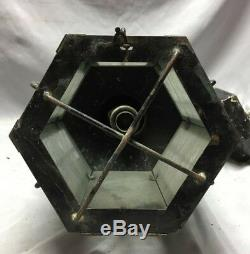 Vtg Arts Crafts Copper Iced Glass Pendant Light Fixture Lantern Mission 102-19C