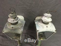 Vtg Brass Sconce Pair Coach Light Fixture Porch Lantern Beveled Glass 123-18E