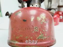 Vtg Lot 6 Lantern Coleman Red Model 200 1 Brass Tank 1 Camper No. 1 With Globe