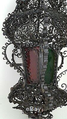 Vtg Spanish Gothic Ornate Black Metal Stained Glass Candle Swag Light Lantern