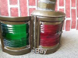 WILCOX CRITTENDEN NAUTICAL BOW lamp PORT STARBOARD Oil Lantern Marine vintage